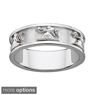 Sterling Silver or Gold over Sterling Textured Virgo Zodiac Band