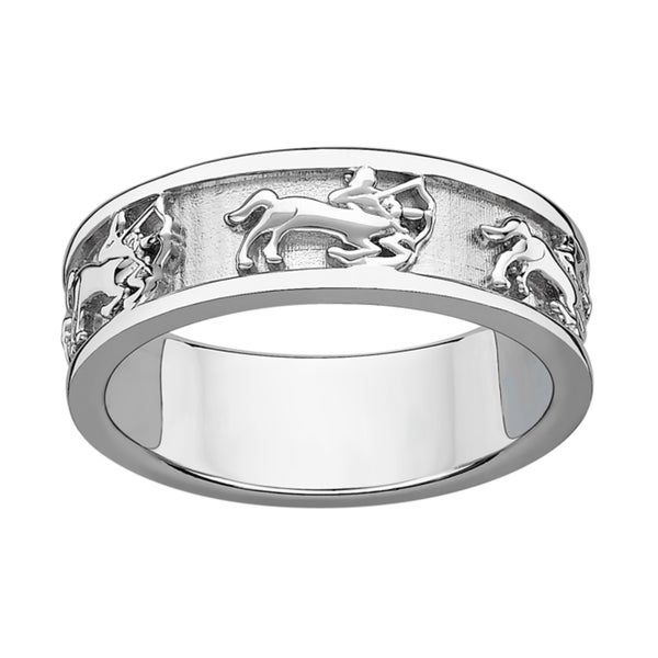 Sterling Silver or Gold over Sterling Textured Sagittarius Zodiac Band