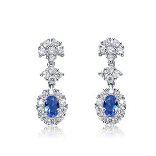 Collette Z Sterling Silver Light Blue and White Cubic Zirconia Oval Drop Earrings