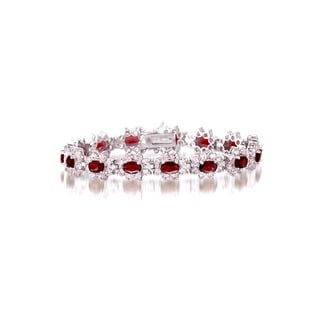Collette Z Sterling Silver Red and White Cubic Zirconia Flower Bracelet