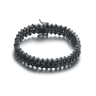 Collette Z Black-plated Sterling Silver Black Cubic Zirconia 5 Row Tennis Bracelet