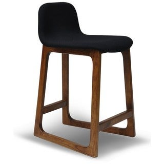 Mid-century Style Solid Wood and Fabric Bar Stool