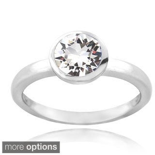 Crystal Ice Sterling Silver Crystal Solitaire Ring with Swarovski Elements