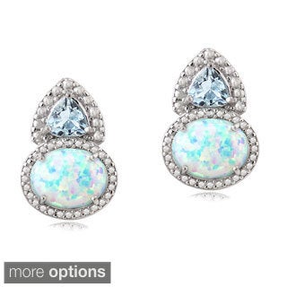 Glitzy Rocks Sterling Silver Created Opal Gemstone and Diamond Accent Drop Stud Earrings