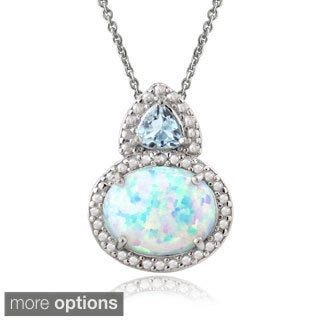 Glitzy Rocks Sterling Silver Created Opal Gemstone and Diamond Accent Necklace