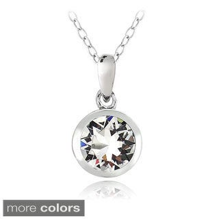 Crystal Ice Sterling Silver Crystal Solitaire Necklace