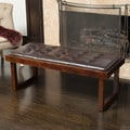 Christopher Knight Home Bayer Tufted Leather Bench Ottoman