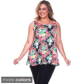 White Mark Women's Plus Size Paisley Tank Top