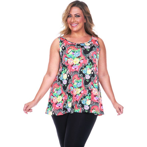 White Mark Women's Plus Size Paisley Tank Top