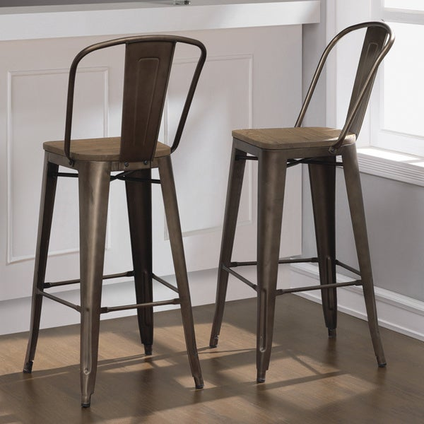 Tabouret bistro wood seat vintage finish bar stools set of 2 - Tabouret bar vintage ...