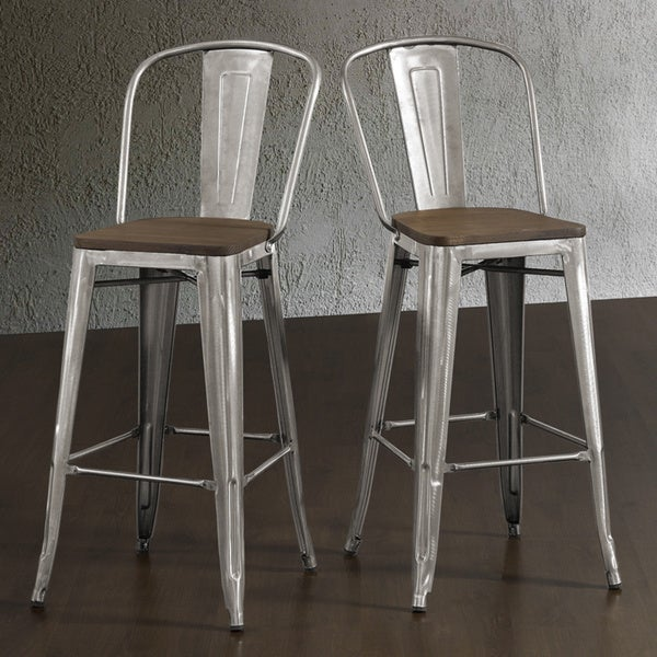 tabouret bistro wood seat gunmetal finish bar stools set of 2