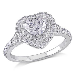 Miadora Signature Collection 14k White Gold 1 1/2ct TDW Certified Diamond Heart Ring (G-H, SI1-SI2)