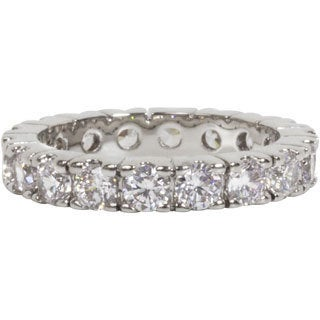 NEXTE Jewelry Sterling Silver White Round Crown Royal Set Eternity Band