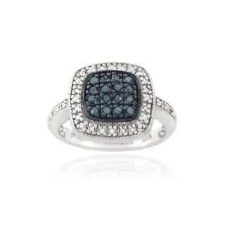DB Designs Sterling Silver 1/6ct TDW Blue Diamond Square Ring