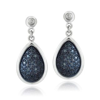 DB Designs Sterling Silver 1/5ct TDW Blue Diamond Teardrop Dangle Earrings (I2-I3)
