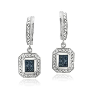DB Designs Sterling Silver 1/8ct TDW Blue Diamond Dangle Earrings