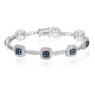 DB Designs Sterling Silver 1/3ct TDW Blue Diamond Link Bracelet (I2-I3)