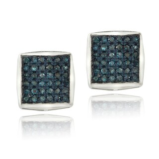 DB Designs Sterling Silver 3/4ct TDW Blue Diamond Square Stud Earrings (I2-I3)