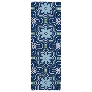 Luau Blue Tile Indoor/ Outdoor Rug (2' x 6')