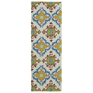 Fiesta Tiles Ivory Indoor/ Outdoor Rug (2' x 6')