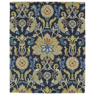 Hand-tufted Anabelle Navy Blue Floral Wool Rug (5' x 7'9)