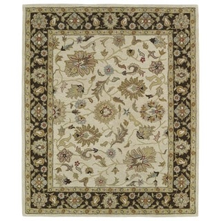 Hand-tufted Anabelle Beige Kashan Wool Rug (5' x 7'9)