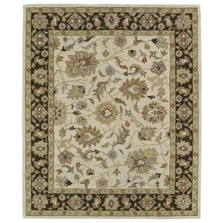 Hand-tufted Anabelle Beige Kashan Wool Rug (7'6 x 9')