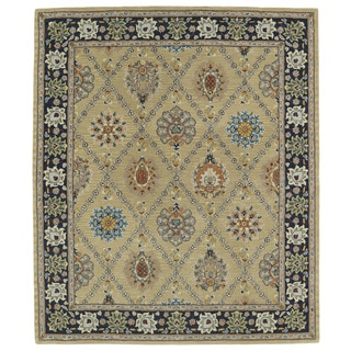 Hand-tufted Anabelle Gold Trellis Wool Rug (5' x 7'9)
