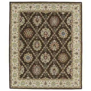 Hand-tufted Anabelle Chocolate Trellis Wool Rug (5' x 7'9)