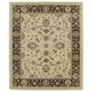 Hand-tufted Anabelle Gold Kashan Wool Rug (8' x 11')