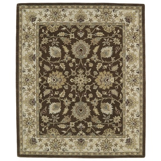 Hand-tufted Anabelle Chocolate Kashan Wool Rug (7'6 x 9')
