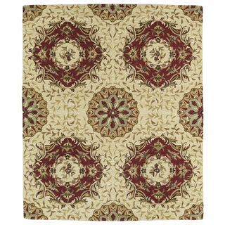 Hand-tufted Anabelle Gold Panel Wool Rug (8' x 11')