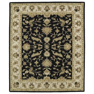 Hand-tufted Anabelle Black Wool Rug (5' x 7'9)