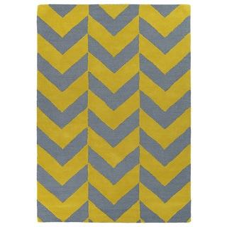 Hand-tufted Grey/ Yellow Prints Chevron Rug (3' x 5')