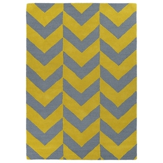 Hand-tufted Grey/ Yellow Prints Chevron Rug (8' x 10')