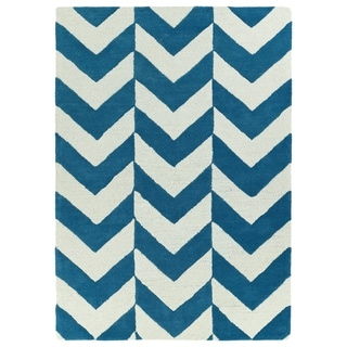 Hand-tufted Turquoise/ Ivory Prints Chevron Rug (5' x 7')