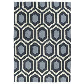 Hand-tufted Charcoal Geo Rug (5' x 7')