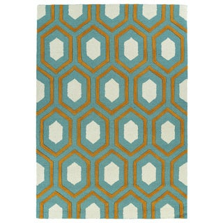 Hand-tufted Teal Geo Rug (8' x 10')