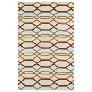 Hollywood Flatweave Ivory Stripes Rug (3'6 x 5'6)