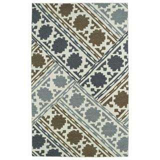 Hollywood Flatweave brown Patchwork Rug (3'6 x 5'6)