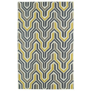 Hollywood Grey/ Yellow Flatweave Rug (3'6 x 5'6)