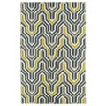 Hollywood Grey/ Yellow Flatweave Rug (3'6 x 5'6)