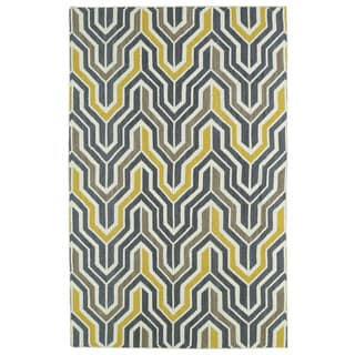 Hollywood Grey/ Yellow Flatweave Rug (5' x 8')