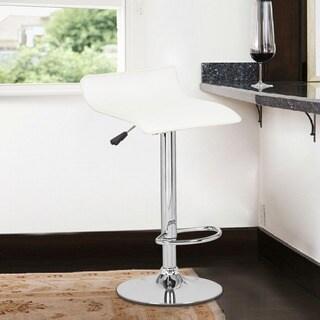 White Low-back Hydraulic Lift Adjustable Bar Stool Set