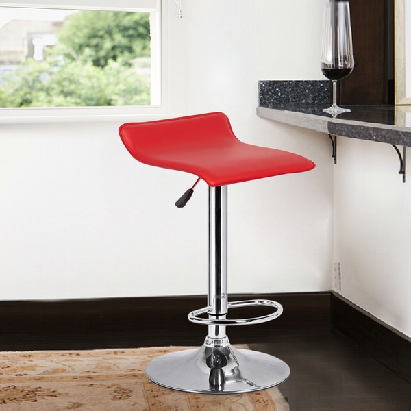 Adeco Red Low-back Hydraulic Lift Adjustable Bar Stool Set