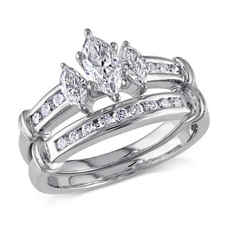 Miadora 14k White Gold 1 1/6ct TDW Certified Diamond Bridal Ring Set (F,SI1) (GIA)
