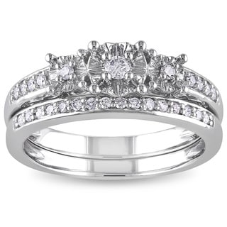 Miadora 10k White Gold 1/4ct TDW Diamond 3-stone Anniversary-style Stackable Bridal Ring Set (G-H, I2-I3)
