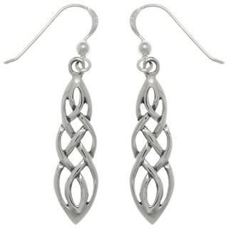 Carolina Glamour Collection Sterling Silver Celtic Knot Linear Teardrop Dangle Earrings