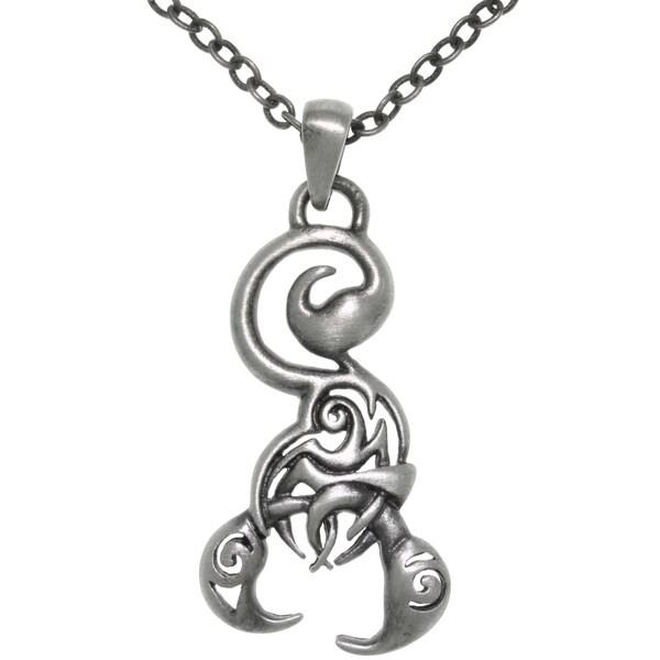 Pewter Stylized Scorpion Pendant Necklace 13914257