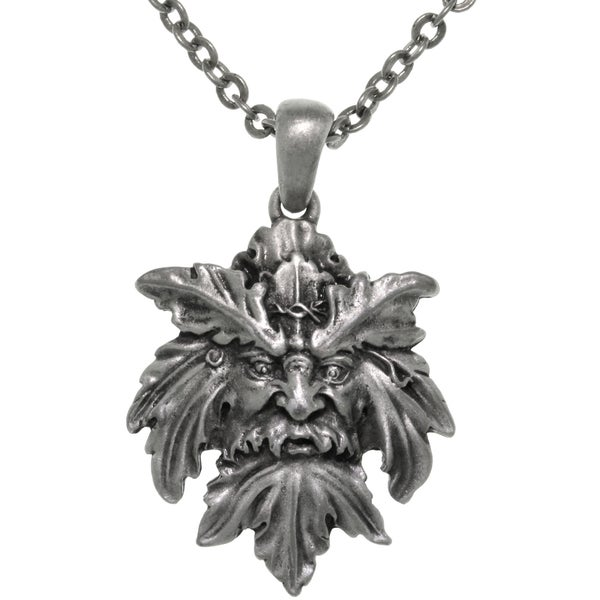 Pewter Mystical Green Man Leaf Face Pendant on Chain Necklace 13914259